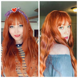 Long Wavy Auburn Wig With Chinese Bangs - Melinda