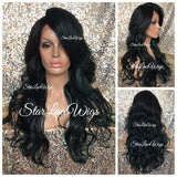 Lace Front Wig Synthetic Long Curly Off Black #1b Green Highlights Bangs Layers - Ella