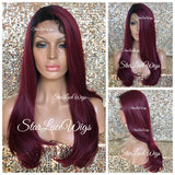 Lace Front Wig Human Hair Blend Burgundy Dark Roots Straight Layers - Caroline
