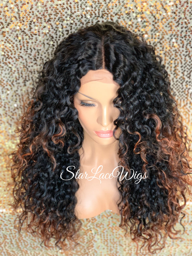 Synthetic Lace Front Wig Long Curly Black Layers Auburn Highlights - Jean
