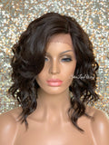 Lace Front Wig Asymmetrical Angled Bob Wavy Brown #4 Bangs - Mindy
