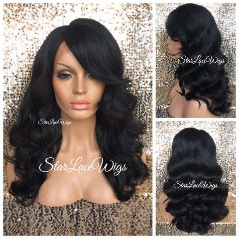 Synthetic Lace Front Wig #30 Dark Roots #1b Wavy Middle Part Layers - Claire