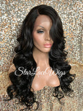 Lace Front Wig Long Body Wave Curly Layers Side Part - Ginger