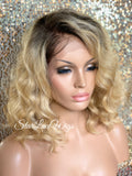Short Wavy Blonde Lace Front Bob Wig Dark Roots (6x13) Parting Space - Serenity