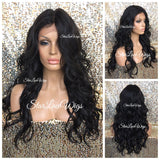 Lace Front Wig Human Hair Blend Long Curly Layers - Charis