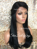 Lace Front Wig Human Hair Blend Black Straight Layered - Bethany