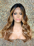 Lace Front Wig Long Synthetic Loose Waves 27/30 Dark Roots Middle Part - Irene