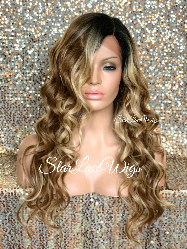 Lace Front Wig Human Hair Blend Dirty Blonde Wavy Black Roots Layered Middle Part - Leanne