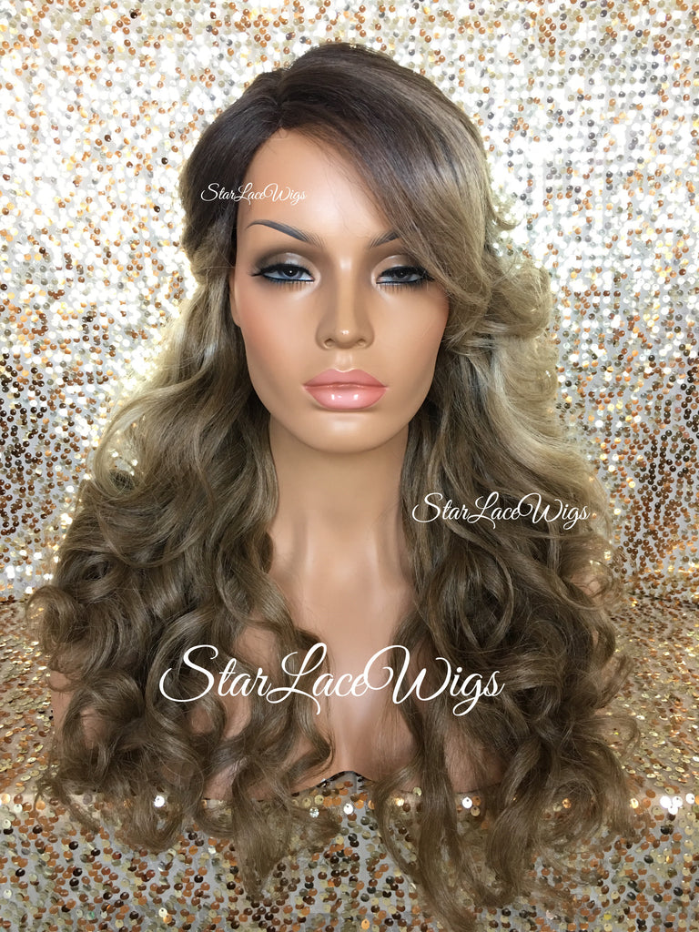 Long Curly Synthetic Curly Honey Ash Blonde Medium Golden Brown Wig Dark Roots Layers Bangs - Justice