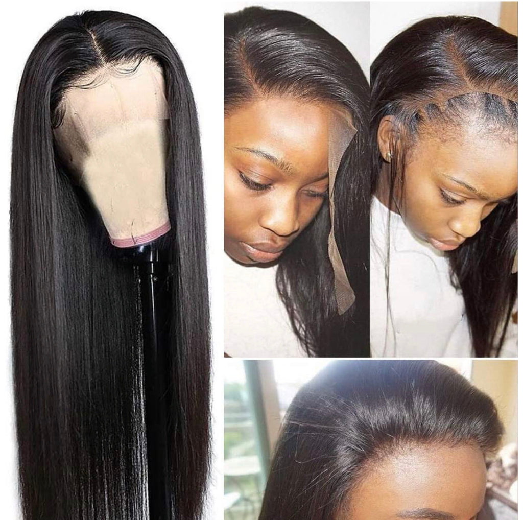 Human Hair Lace Front Wig 13x4 Straight Natural Black - Adrienne