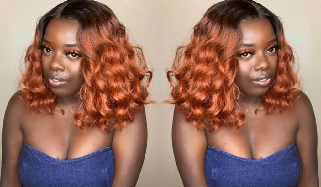 Short Wavy Synthetic Copper Red Bob Wig Dark Roots - Jae