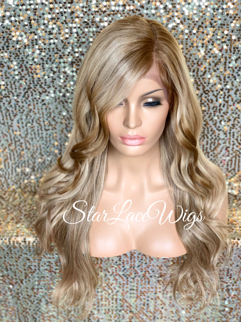 Lace Front Wig Synthetic Blonde Loose Waves Side Part Layers - Athena
