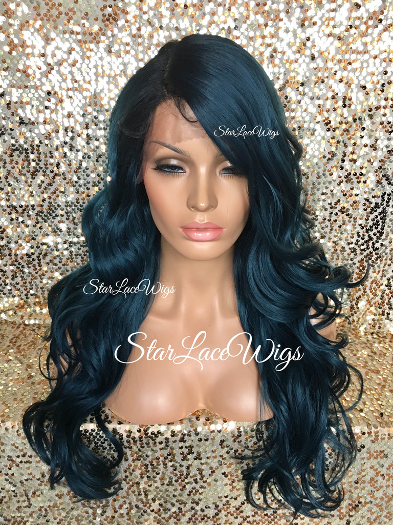 Lace Front Wig Human Hair Blend Teal Green Black Roots Curly Layered - Isabella