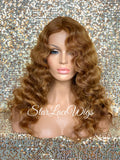 Long Light Golden Brown Body Wave Wig Middle Part Synthetic - DeeDee