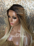 Lace Front Wig Synthetic Long Straight Blonde Dark Roots - Emily