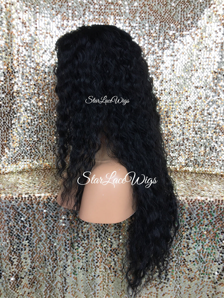 Long Lace Front Wig Human Hair Blend Deep Wave Wavy Layered - Tam