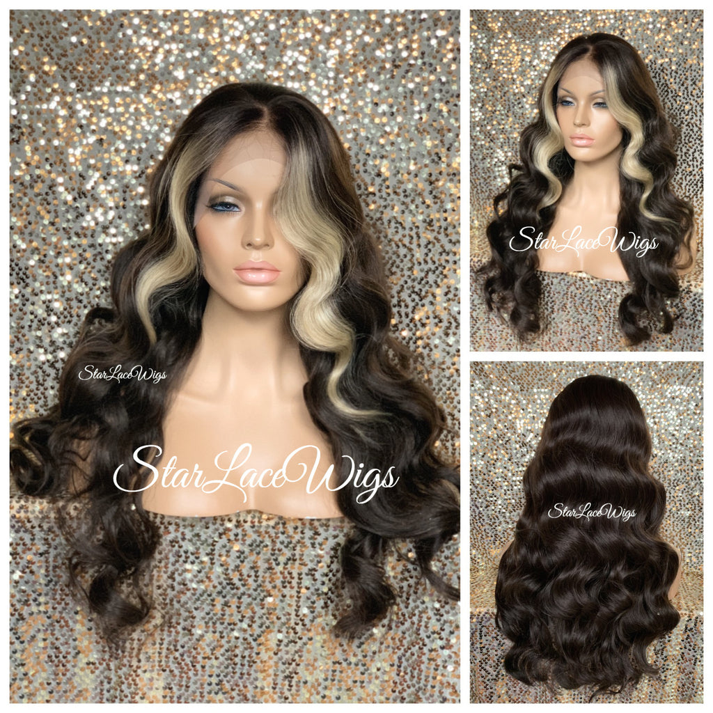 Long Wavy Brown Lace Front Wig (6x13) Parting Space Blonde Highlights - Ivy
