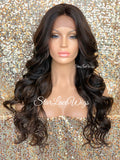 Lace Front Wig Long Synthetic Curly Layers Brown #4 Highlights #30 - Fawn