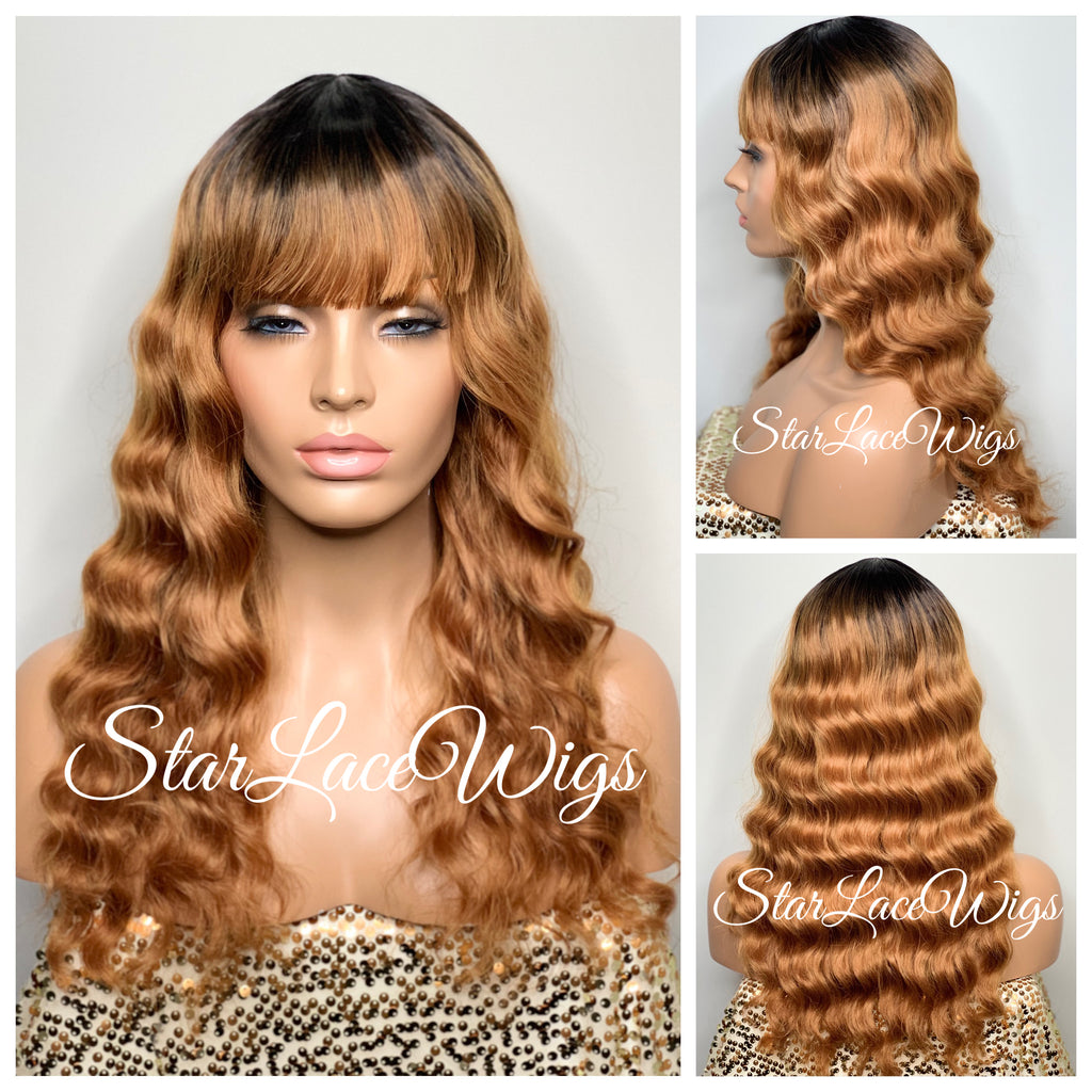 Long Wavy Strawberry Blonde Wig #27 Dark Roots With Chinese Bangs - Kimberly
