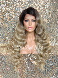 Long Ash Blonde Body Wave Wig Dark Roots Middle Part Layered Synthetic Wig - Cameron