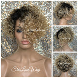 Synthetic Full Wig Blonde Dark Roots Curly Side Part - Ivory
