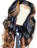 Human Hair Lace Front Wig 13x4 Body Wave Color #1b & #30 - Donna