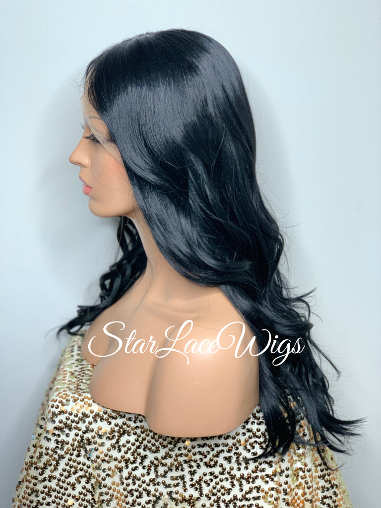 Long Wavy Lace Front Wig Black Brown Middle Part - Cheryl