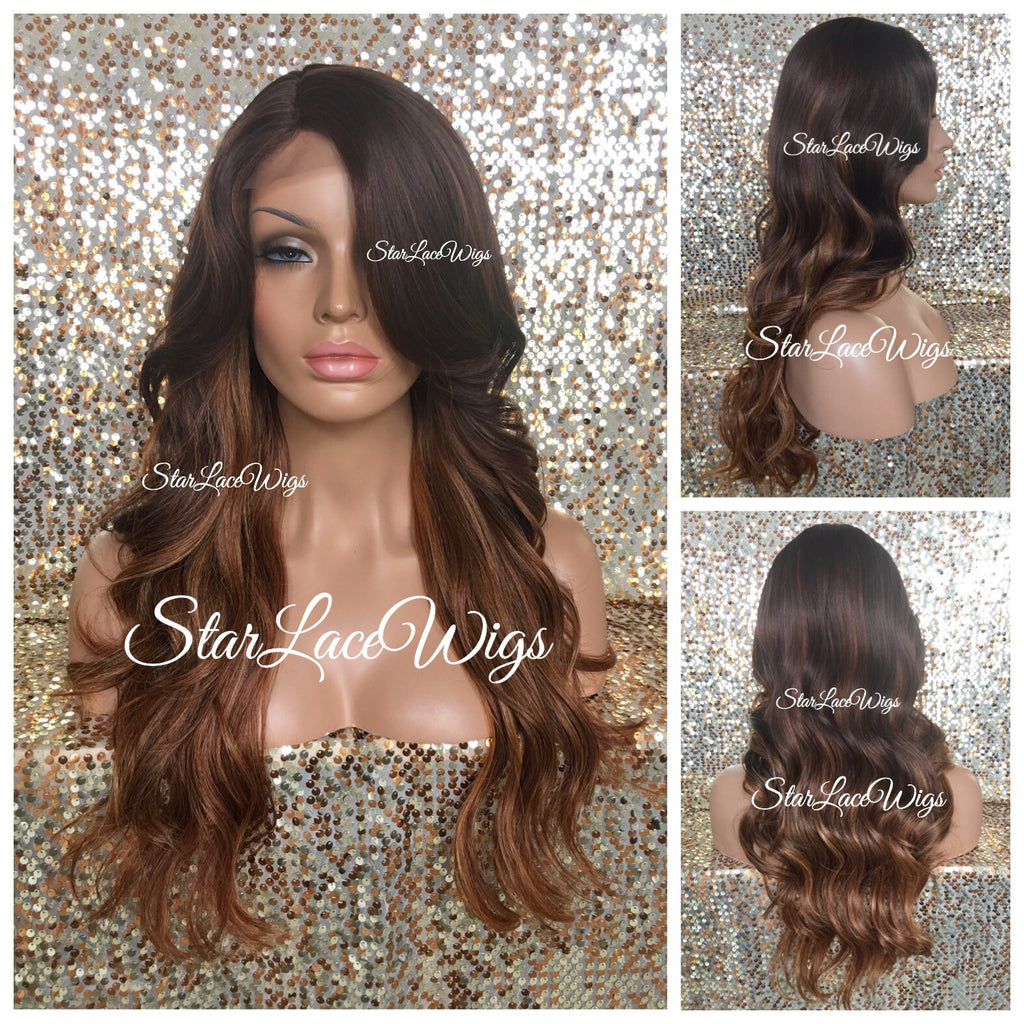 Long Ombre Brown Auburn Loose Wavy Synthetic Wig Bangs - Jenna