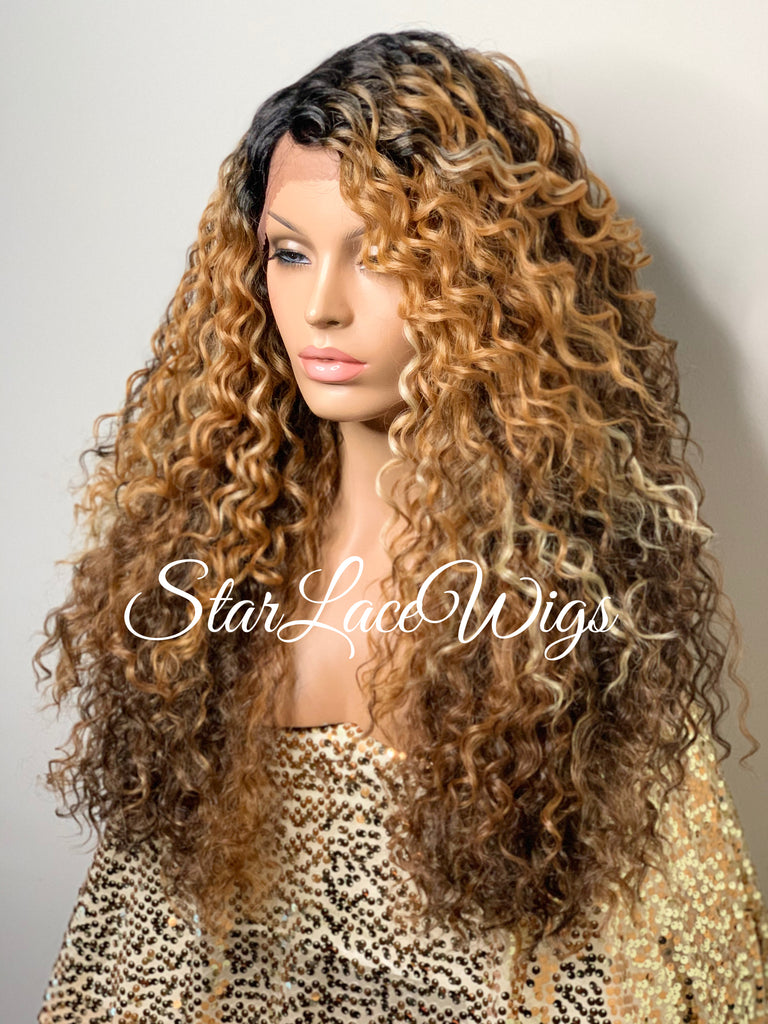 Synthetic Lace Front Wig Brown Auburn Blonde Highlights Long Curly - Brie