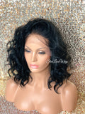 Short Wavy Black Dark Brown Lace Front Bob Wig (6x13) Parting Space - Lorena