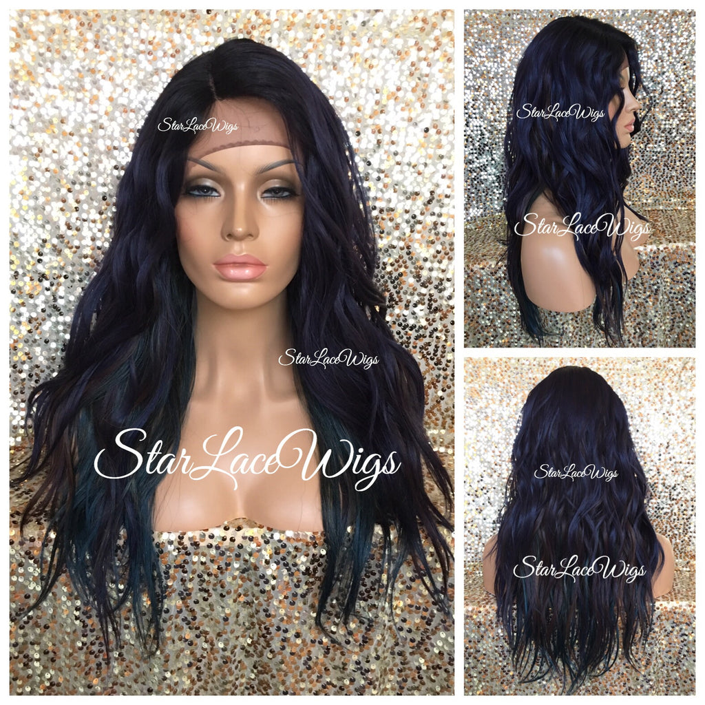 Synthetic Lace Front Wig Blue Purple Green Brown Mix Long Wavy - Vera