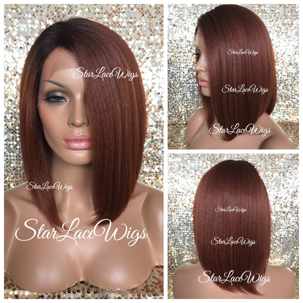 Lace Front Wig Human Hair Blend Straight Light Yaki Copper Dark Root Bob - Sarah