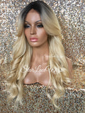 Long Blonde Loose Wavy Synthetic Wig Dark Roots Layers Bangs - Carrie