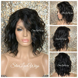 Lace Front Wig Short Wavy Synthetic Bob Black Brown - Amanda