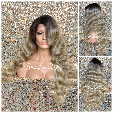 Synthetic Lace Front Wig Long Wavy Middle Part - Aria