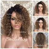 Lace Front Wig Short Curly Blonde Synthetic Brown Roots - June