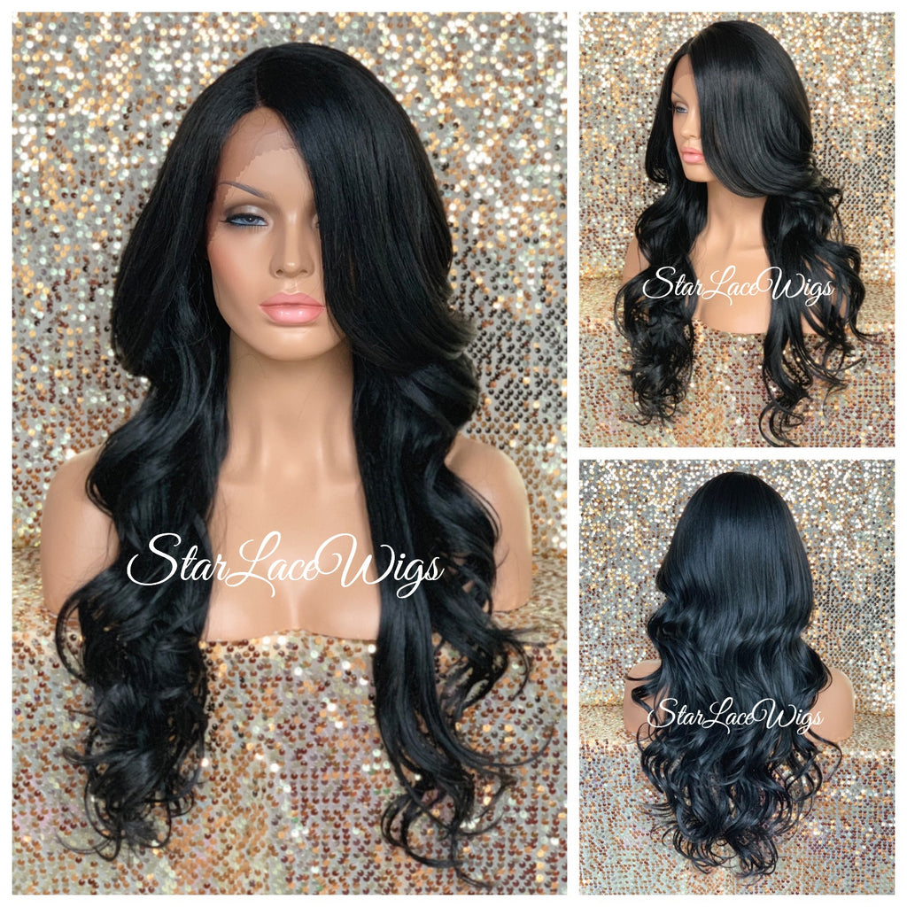 Long Lace Front Wig Lose Curly Layered Synthetic Wig Bangs Black Brown - Tai