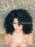 Lace Front Wig Short Curly Synthetic Bob Side Part Bangs - Louise