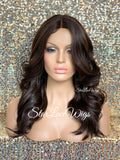 Long Loose Curly Wig Brown #4 Middle Part Synthetic - Lyla