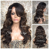 Lace Front Wig Synthetic Body Wave Wavy Brown #4 #30 Long Bangs - Kara