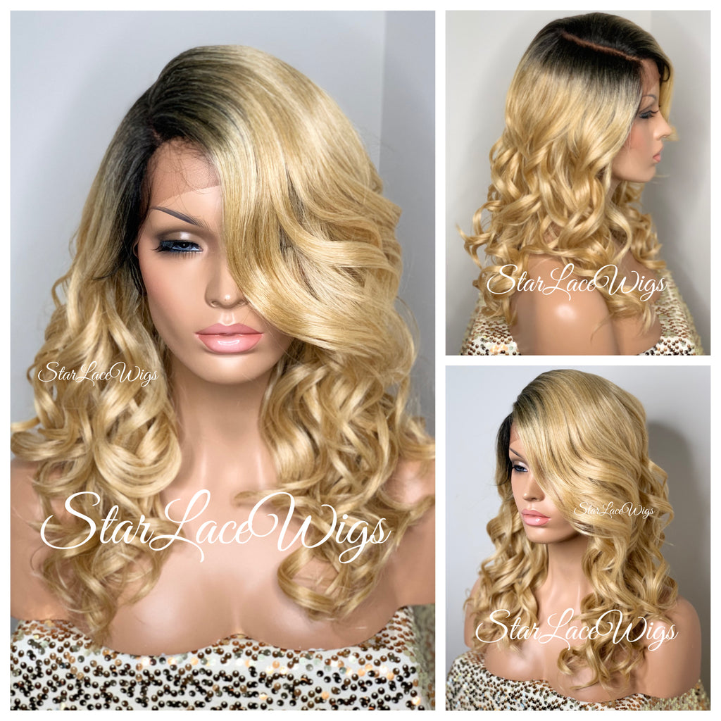 Lace Front Wig Synthetic Curly Golden Blonde Dark Roots Side Part Bangs Layers - Elsie