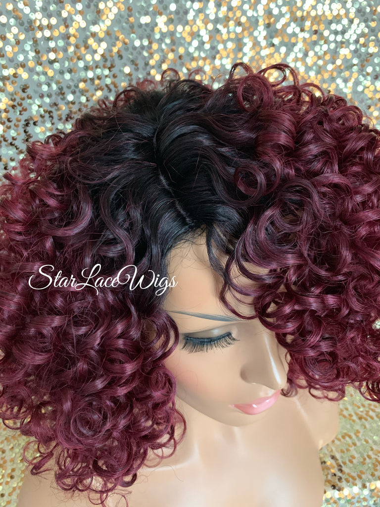 Synthetic Curly Full Bob Wig Burgundy Dark Roots - Charis
