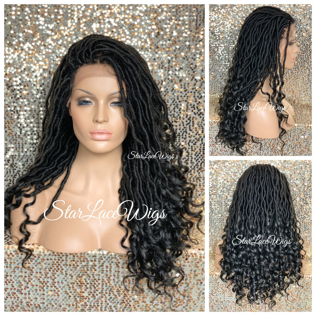Long Faux Locs Lace Front Wig 4x4 Parting Space Swiss Lace - Lana