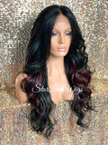 Long Loose Curls Lace Front Wig (6x13) Parting Space Black Burgundy - Dior