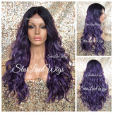 Lace Front Wig Purple Black Roots Synthetic Long Wavy Middle Part - Sophia