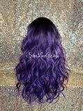 Lace Front Wig Lavender Purple Black Roots Long Wavy Layers Middle Part - GiGi