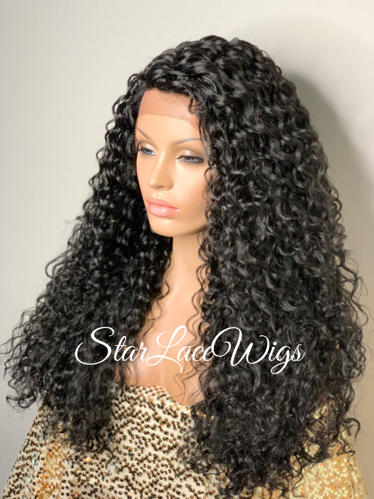 Synthetic Lace Front Wig Black Long Curly Layers Side Part - Madelyn