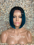 Lace Front Wig Bob Straight Teal Off Black Roots Middle Part - Kylie