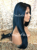 Lace Front Wig Human Hair Blend Teal Green Blue Straight Layered - Inga