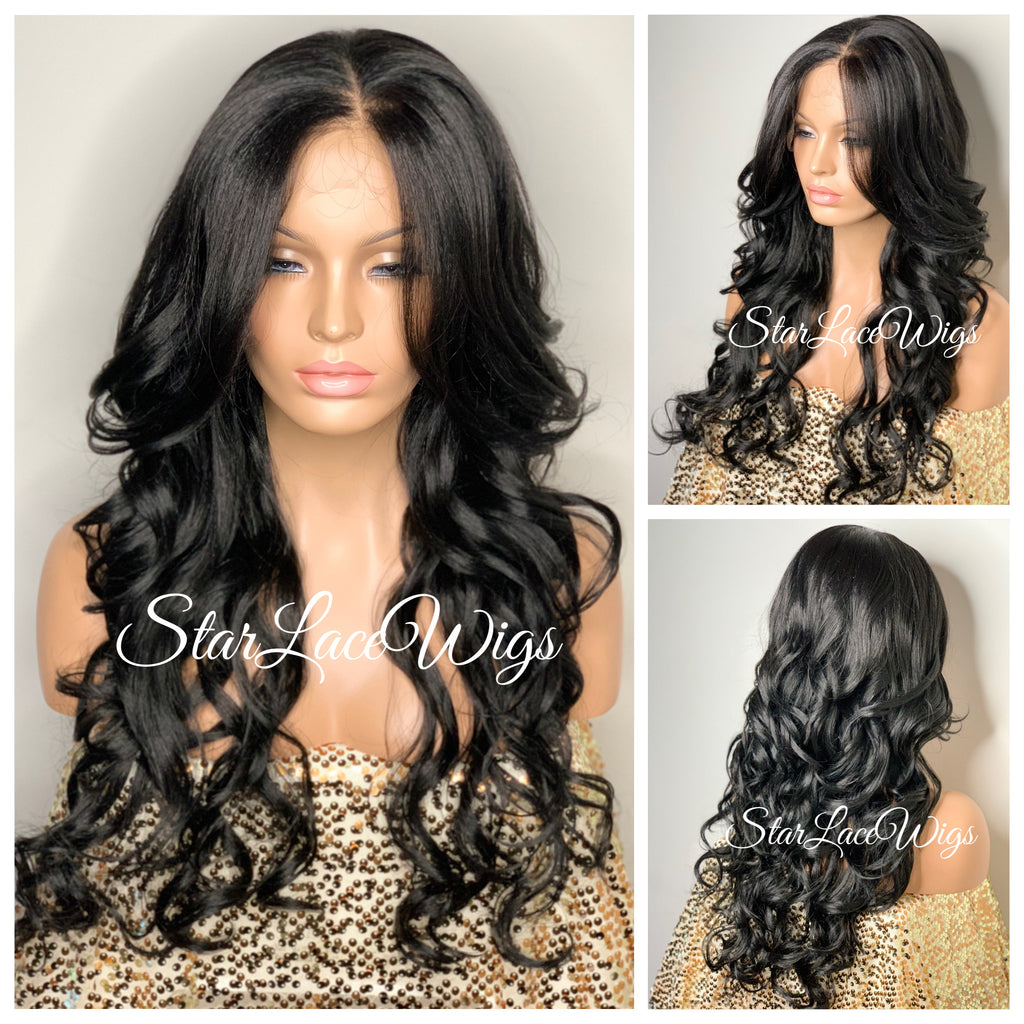 Long Loose Curls Lace Front Wig (6x13) Parting Space Black - Miracle